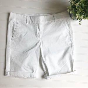 3/$15 NWT LOFT White Bermuda Roll Shorts